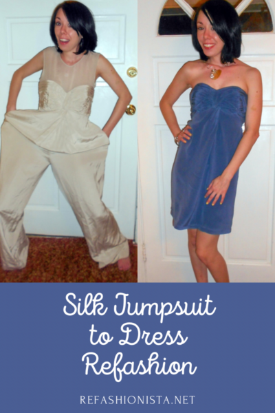 refashionista dyed silk jumpsuit to dress refashion before and after pin 3
