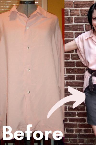 Oversized Button Down Shirt Refashion Pin 1