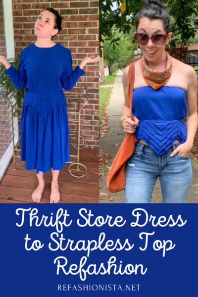 Art Deco-ish Dress to Strapless Top Refashion pin 7