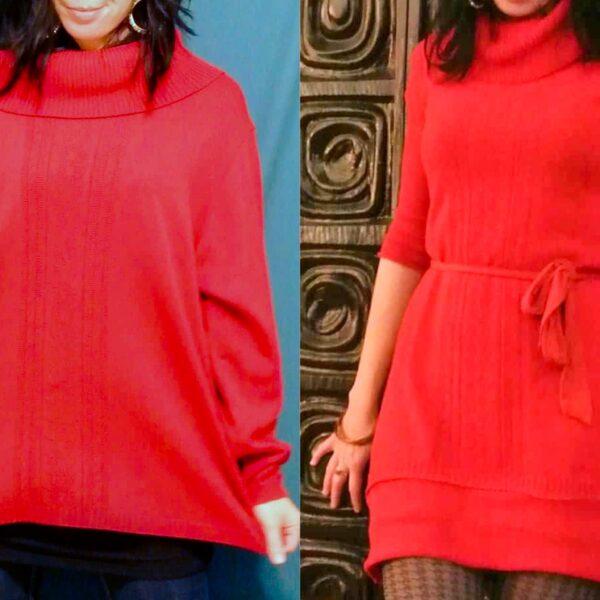 Refashionista Oversized Sweater to Sweater Dress Refashion pin 5