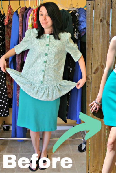 refashionista how to remove a peplum from a dress pin 2