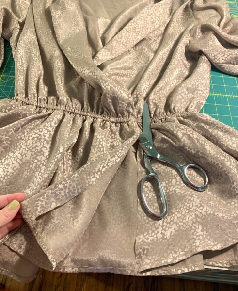cutting up the front of the peplum