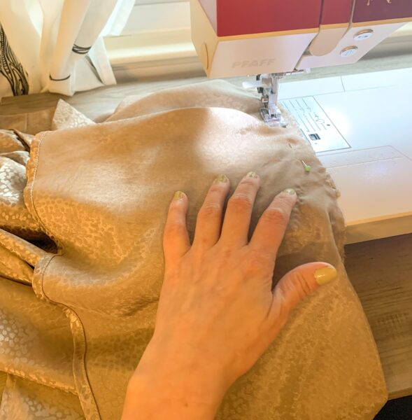 sewing peplum to top of dress