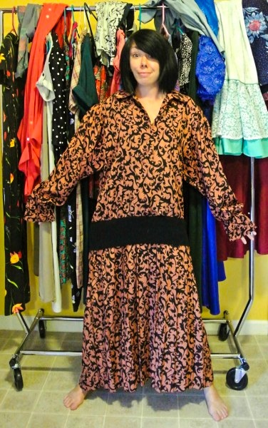 Halter Dress Refashion with Vintage Flair before