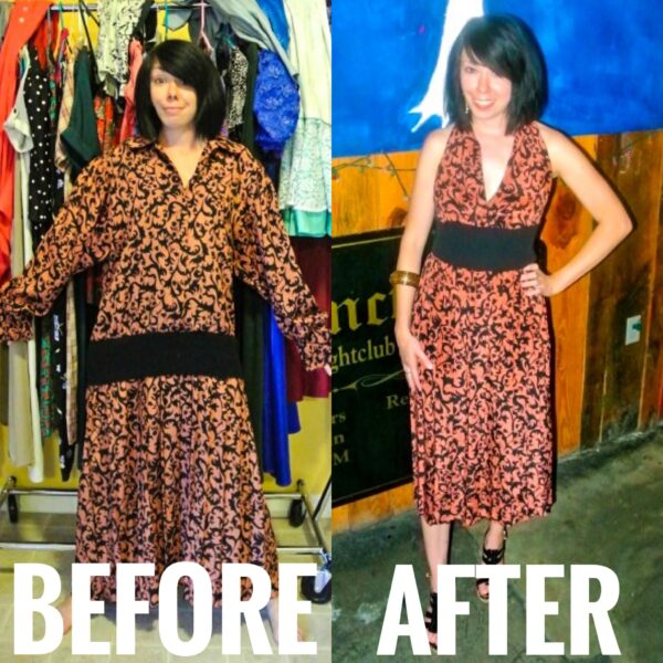 refashionista Halter Dress Refashion with Vintage Flair before and after