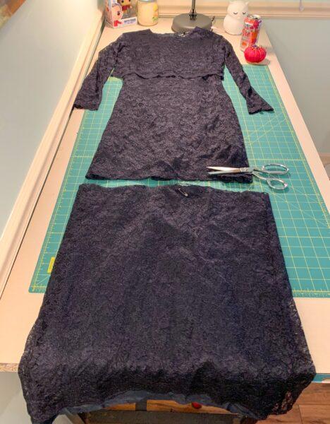 cutting new hem for dress