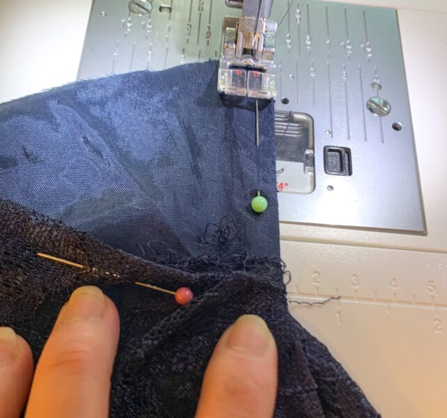 sewing back bottom parts of dress
