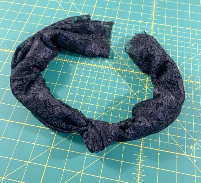 bottom scrap tied into scarf