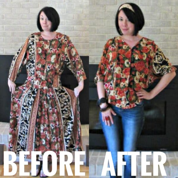 Fall Floral Refashionista Dress to Shirt Refashion before and after