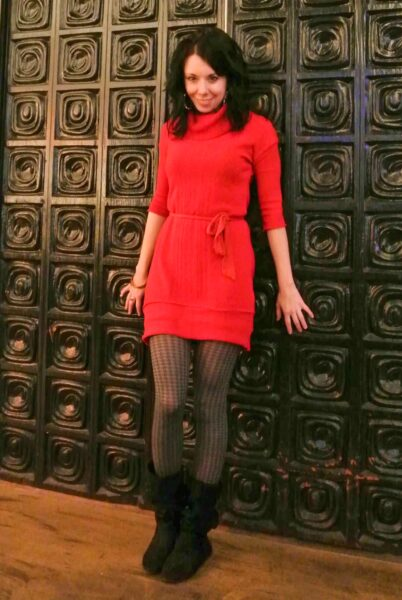 Oversized Sweater to Sweater Dress Refashion after