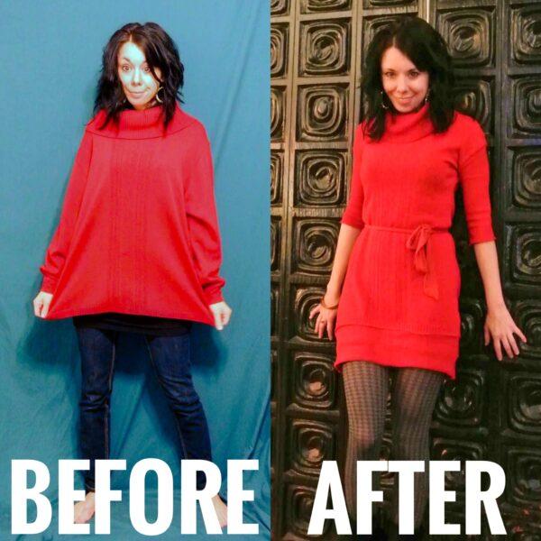 Refashionista Oversized Sweater to Sweater Dress Refashion pin 1