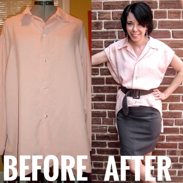 refashionista Oversized Button Down Shirt Refashion before and after