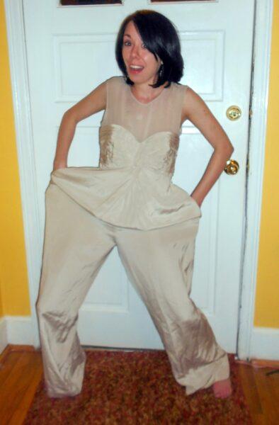 refashionista dyed silk jumpsuit to dress refashion before