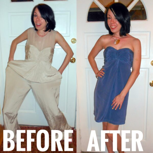 refashionista dyed silk jumpsuit to dress refashion before and after