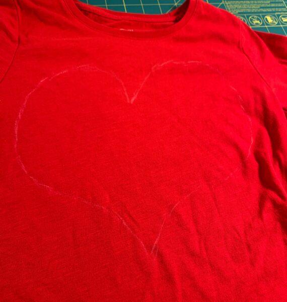 chalk heart on t-shirt