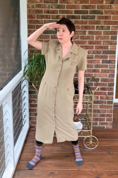 Refashionista Dress to Cape Jacket Refashion before safari vibes