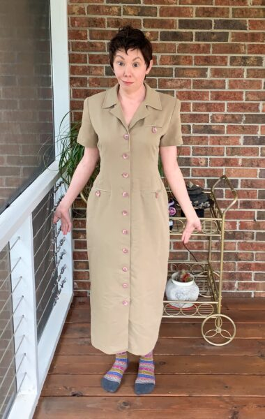 Refashionista Dress to Cape Jacket Refashion before