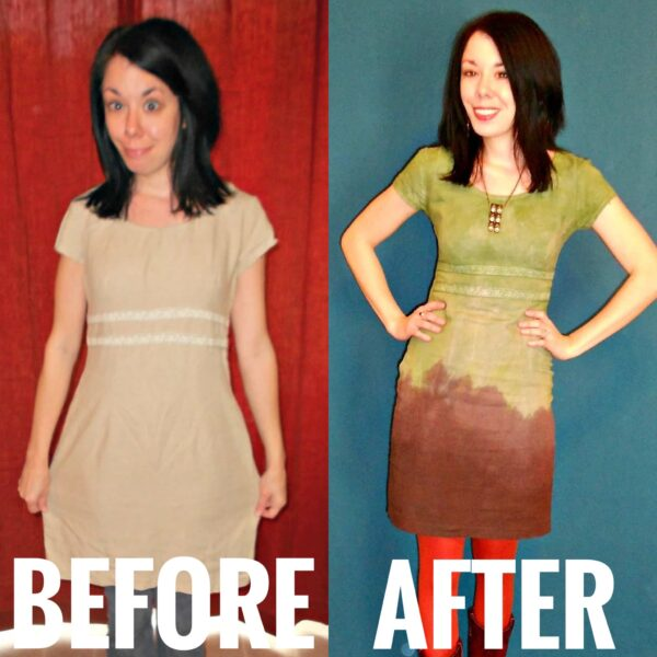 The Grass is Greener: Double Dip Dyed Dress before and after