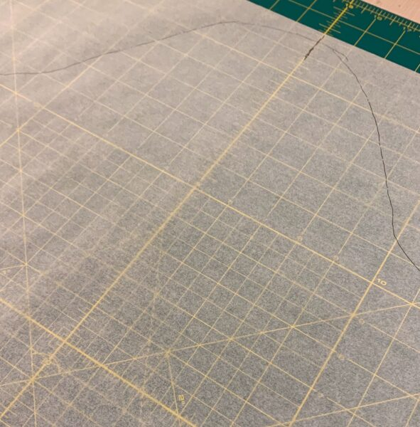 top of sleeve traced onto pattern paper