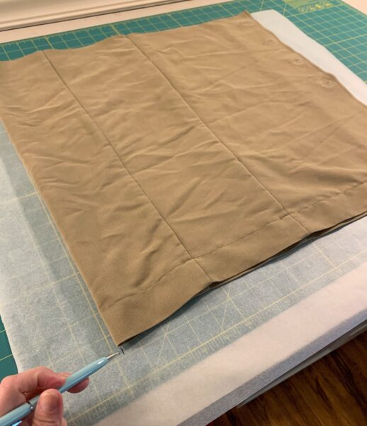 cut off scrap laid on pattern paper