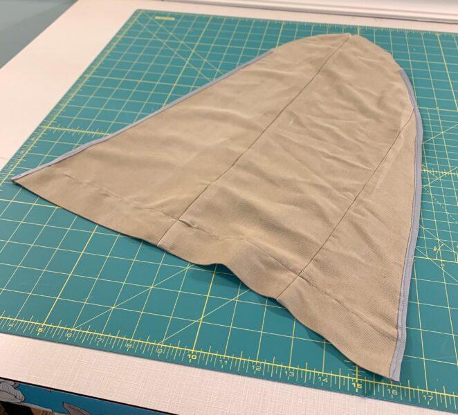 bias tape sewed on sides of sleeve