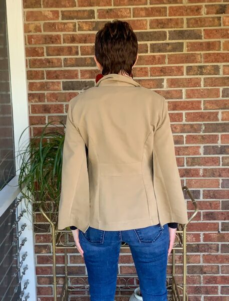 Dress to Cape Jacket Refashion after back view