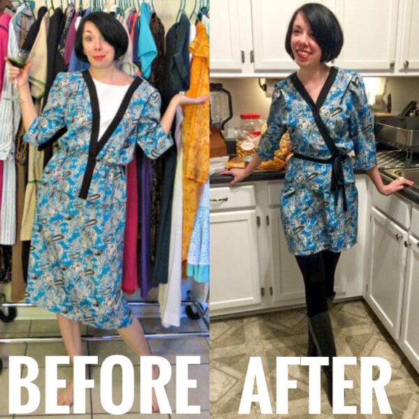 Kimono Dress Refashion before and after
