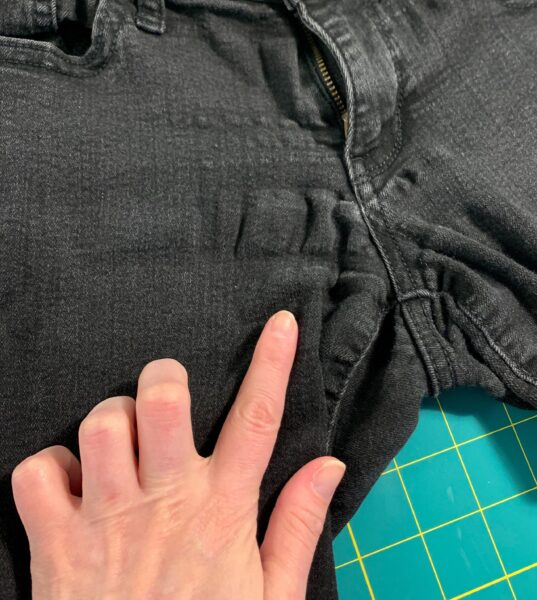 worn out crotch of jeans