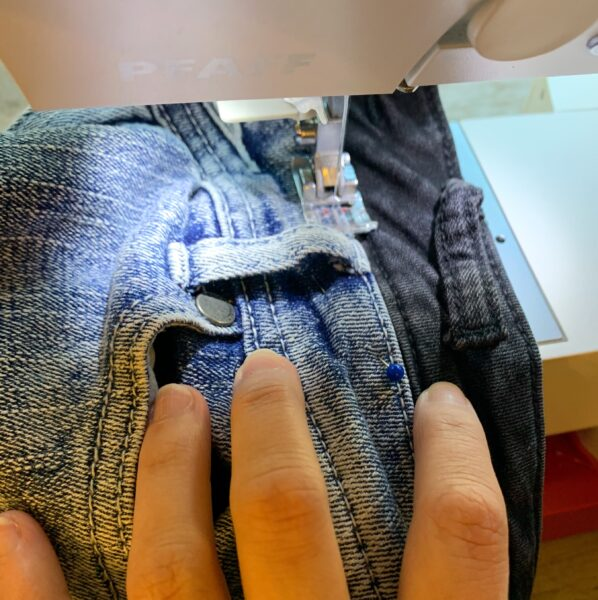 sewing in new waist of jeans