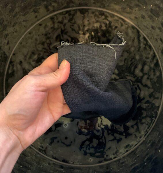 jeans in washing machine dye bath