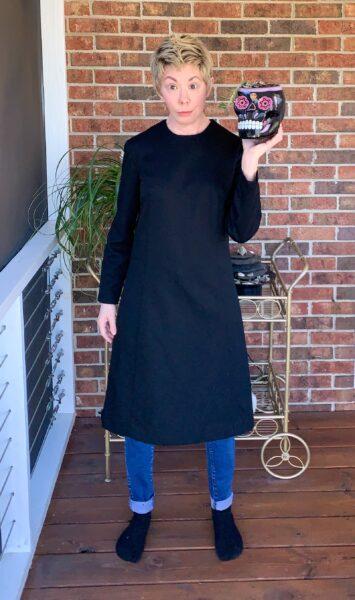 Refashionista Slit Bottom Sleeve Dress Refashion Before