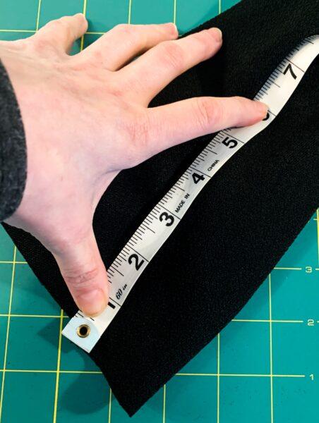 measuring sleeve slit with tape measure