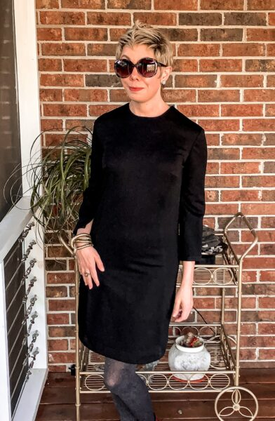 refashionista Slit Bottom Sleeve Dress Refashion after closeup