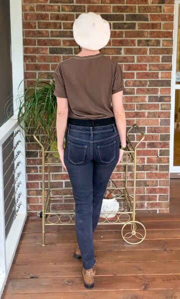 refashionista How to Make High Waisted Jeans from Low Waisted Jeans after back view