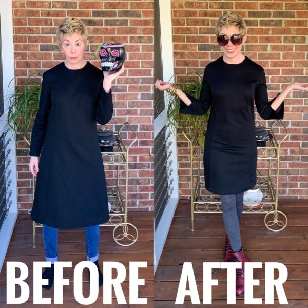 refashionista Slit Bottom Sleeve Dress Refashion before and after
