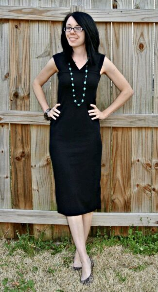 refashionista Perfect Little Black Sweater Dress Refashion after