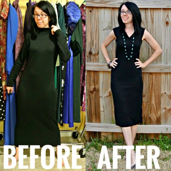 refashionista Perfect Little Black Sweater Dress Refashion before and after