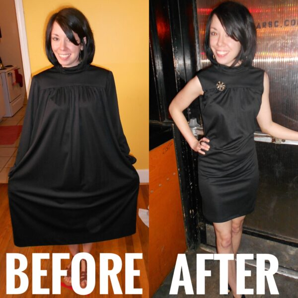 refashionista little black dress refashion before and after