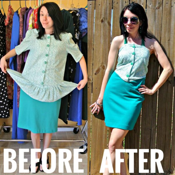 refashionista how to remove a peplum from a dress before and after