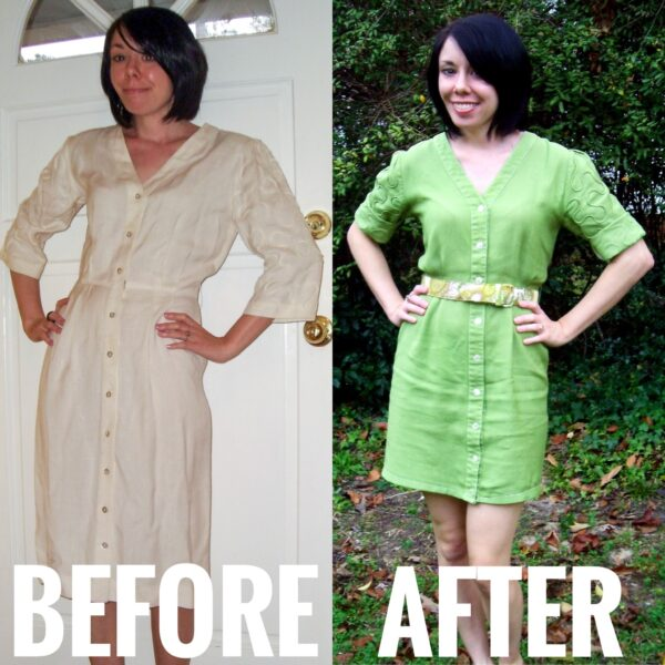 apple dyed dress before and after
