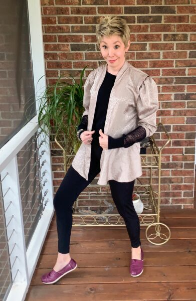 Refashionista DIY Ath-Flow Coverup after funny pose