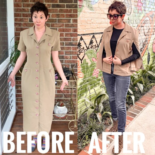Refashionista Dress to Cape Jacket Refashion before and after