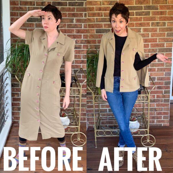 Refashionista Dress to Cape Jacket Refashion pin 10