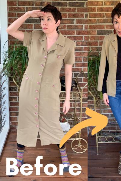 Refashionista Dress to Cape Jacket Refashion pin 6