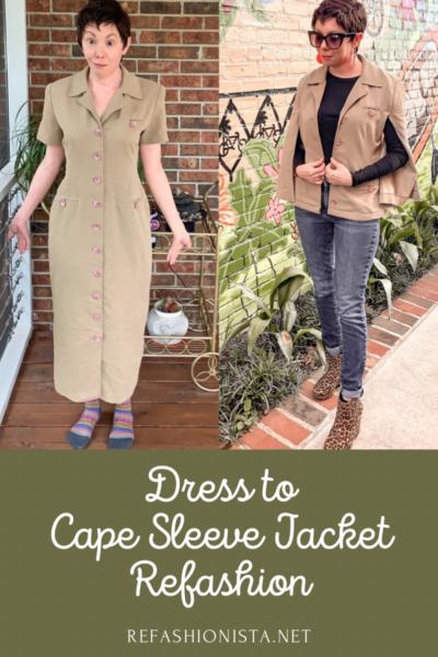 Refashionista Dress to Cape Jacket Refashion pin 7