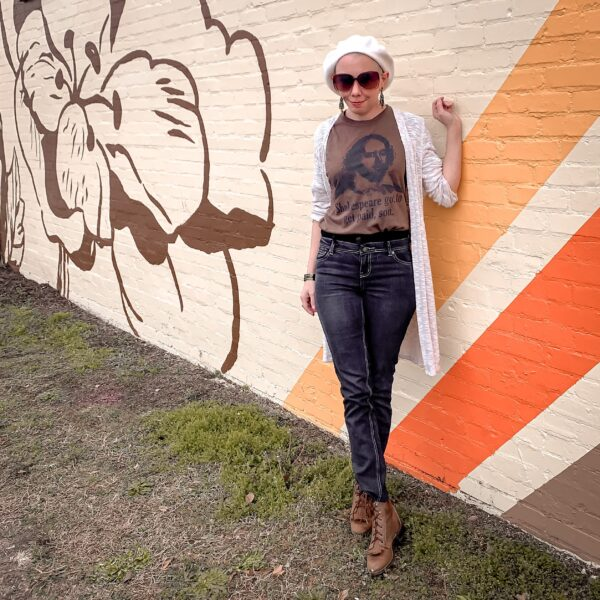 refashionista How to Make High Waisted Jeans from Low Waisted Jeans after in front of mural square view