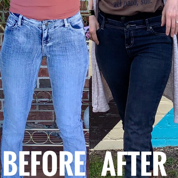 refashionista How to Make High Waisted Jeans from Low Waisted Jeans before and after