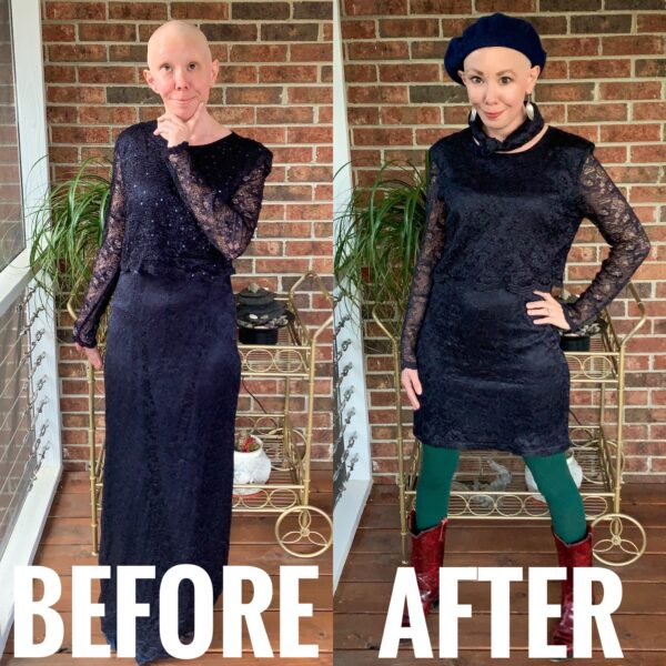 refashionista mother of the bride dress upcycle before and after