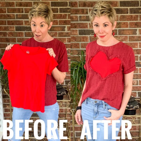 refashionista Valentine's Day Reverse Appliqué Heart Sweater before and after