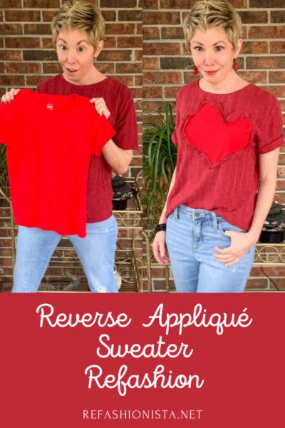 refashionista Valentine's Day Reverse Appliqué Heart Sweater pin 4